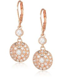 Anne Klein Classics Rose Gold Stone Leverback Drop Earring - Metallic