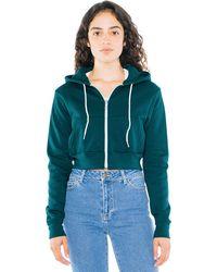 American Apparel Flex Fleece Cropped Long Sleeve Zip Hoodie - Green