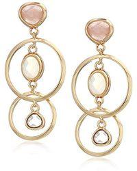 Anne Klein - Gold Tone Multi Stone Drop Earrings, Size: 0 - Lyst