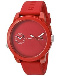 Tommy Hilfiger - 'denim' Quartz Plastic And Rubber Watch, Color Red (model: 1791323) - Lyst