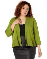 Kasper Plus Size 3/4 Sleeve Ruffle Hem Shrug - Green