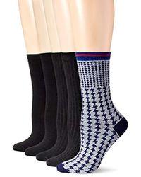 Anne Klein Lovely Lady Patterned Crew Socks 5-pack - Blue
