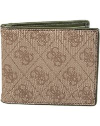 Guess Leather Slim Bifold Wallet - Brown