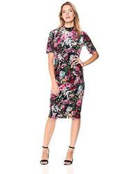 Adrianna Papell - La Vie En Rose Floral Printed Velvet Midi Dress - Lyst