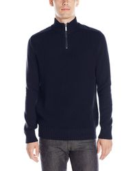 Kenneth Cole Kenneth Cole Half Zip With Pleather Sweater - Blue