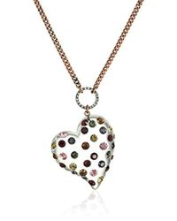 """Betsey Johnson - """"confetti Mixed Multi-colored Stone Lucite Heart Long Pendant Necklace - Lyst"""