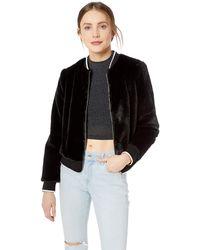 Kensie Luxe Faux Fur Bomber Jacket - Black
