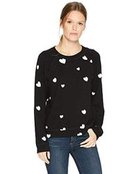 Monrow - Black Vintage Raglan With Scattered Hearts, - Lyst