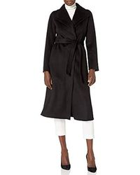 T Tahari Maxi Double Face Wool Coat With Optional Self Tie Belt - Black
