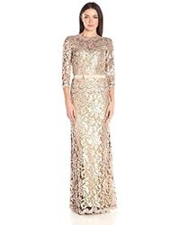 Tadashi Shoji Sequin Embroidered Gown With 3/4 Sleeve And Belt - Metallic