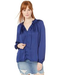 Lucky Brand Satin Peasant Top - Blue