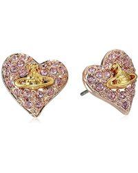 Vivienne Westwood - S Tiny Diamante Heart Studs - Lyst