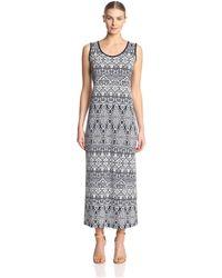 James & Erin Side Slit Maxi Dress - Blue