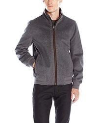 Vince Camuto Lightweight Wool Bomber Jacket - Gray
