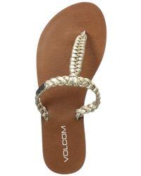 Volcom Fishtail Braided T-strap Sandal - Metallic