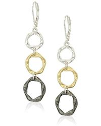 Nine West - Tri-tone Linear Drop Earrings - Lyst