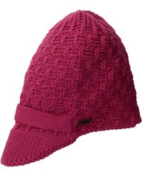 U.S. POLO ASSN. Popcorn Knit Beanie With Knitted Visor - Pink