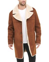 DKNY Shearling Walking Coat With Faux Fur Collar - Brown