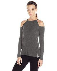 Calvin Klein L/s Cold Shoulder Pull Over W/zipper Detail - Gray