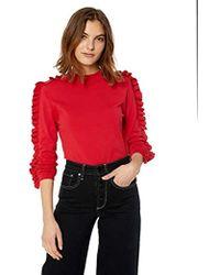 Keepsake Hands On Ruffle Long Sleeve Knit Sweater Top - Red