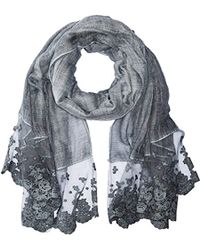 La Fiorentina - Thin Polyester Scarf/wrap With Lacy Trim, - Lyst