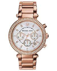 Michael Kors - 39mm Rose Goldtone Parker Chronograph Watch - Lyst