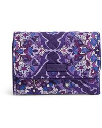 Vera Bradley Iconic Rfid Riley Compact Wallet, Signature Cotton - Blue