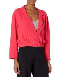Amanda Uprichard Albany Elastic Waist Button Up Cropped Jacket - Red
