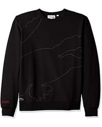 8541442ca Lacoste - Sport Long Sleeve Outlined Big Croc Fleece Crew - Lyst