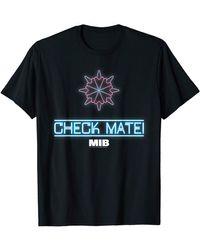 Perry Ellis In Black Check Mate Neon Logo T-shirt - Blue