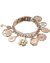 Anne Klein Swarovski Crystal Accented Rose Gold-tone Charm Bracelet Watch - Metallic
