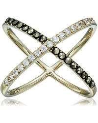 """Judith Jack """"classics"""" Gold-tone Sterling Silver Ring With Crystals And Marcasite - Metallic"""
