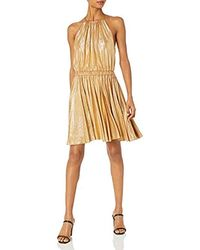 Halston Sleeveless Round Neck Dress With Flounce Skirt - Multicolor