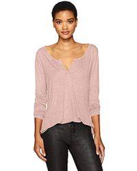 NYDJ Long Sleeve Knit Henley Shirt - Pink
