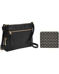 Fossil Fiona Leather Small Crossbody Handbag - Black