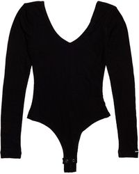 Superdry V-neck Rib Thong Bodysuit - Black