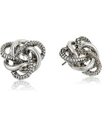 Napier Knotted Button Stud Earrings - Metallic