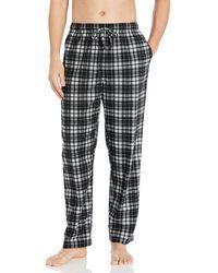 Nautica Cozy Fleece Plaid Pajama Pant - Black
