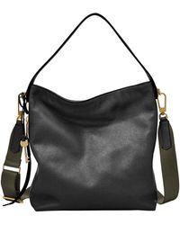 Fossil Maya Leather Small Hobo Handbag - Black