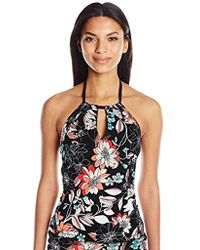 41842a74406 Kenneth Cole V-neck Halter Tankini Swimsuit Top in Blue - Lyst