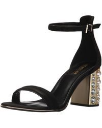 Kenneth Cole Reaction Liandra Strappy Sandal With Faux Pearl Heel Heeled - Black