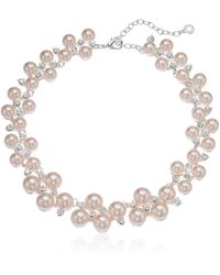 Anne Klein 16 Bauble Silver Pearl Choker Necklace - Pink