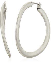 Lucky Brand Brushed Silver Hoop Earrings - Metallic