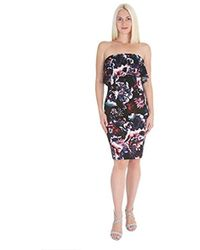Bebe - Floral Printed Strapless Crepe Dress With Popover - Lyst