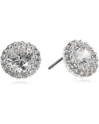 Anne Klein - Crystal Round Halo Stud Earrings - Lyst