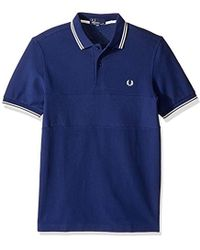 Fred Perry - Textured Panel Pique Shirt - Lyst