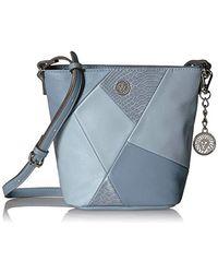 Anne Klein Patchwork Bucket Bag - Blue