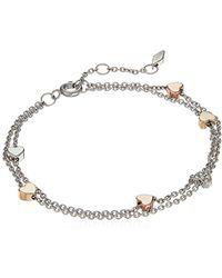 Fossil S Vintage Motif Double Strand Bracelet W/heart Accents - Metallic