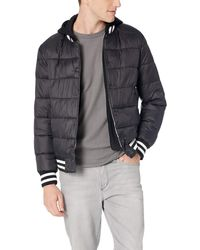 Guess Varsity Puffer Jacket With Hood - Black