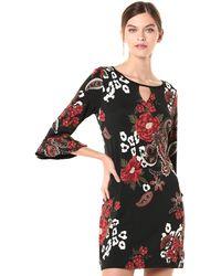 Laundry by Shelli Segal Reversible Matte Jersey Keyhole Dress - Black